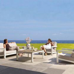 LIFE Gartenlounge Block Lounge Set White Aluminium Carbon_14632